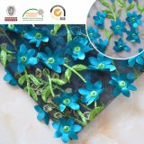 чувствительная голубая ткань шнурка вышивки 3D, хорошее качество для венчания и ежедневное платье C10017
