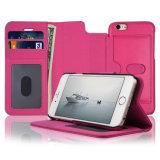 El efectivo de la tarjeta de crédito de la identificación de la caja de la carpeta ranura el cuero sintetizado superior [opinión del soporte] para el iPhone 6s de Apple