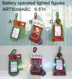 Iluminação acima do Natal Gifts-3asst do suporte de cartão de Santa e de boneco de neve