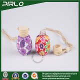 15ml arcilla del polímero rodeado botella de perfume de cristal con perfume orificio reductor de coche usado botella de vidrio con Hing Cap Madera