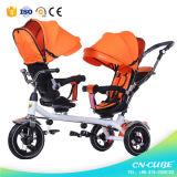 Triciclo del passeggiatore del bambino con il triciclo di bambini della barra di spinta per i gemelli