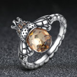 100% authentischer 925 Sterlingsilber-orange Flügel-Tierbienen-Frauen-Finger-Ring