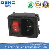 Socket de la corriente ALTERNA de las cañerías C14 del IEC 320 con el conector del receptáculo de la entrada del cable eléctrico con encendido apagado