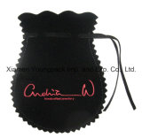 Fashion Custom Printed Small Black Velvet Drawstring Jewelry Gift Pouch