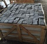 Pavé rond et cubes gris dégringolés du granit G654