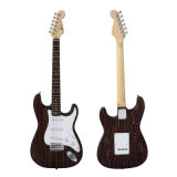 Type solide en gros guitare électrique de Strato de corps de Zebrawood d'ODM d'OEM