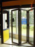 Porte en verre Bi-Fold de bâti en aluminium/guichet se pliant