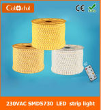 Luz de tira del alto brillo AC230V SMD5730 LED Robbin de la larga vida