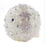 Satin-Weiß/Blumen-Brauthochzeits-Blumenstrauß Champagne-Rose mit Steinen (Dream-100087)