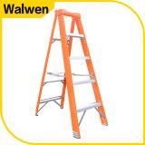Orange Farbe mit Plastikoberseite eine Rahmen-Fiberglas-Jobstepp-Strichleiter
