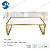 Mesa de centro do estilo da forma do metal do aço inoxidável do ouro 304 com vidro Tempered