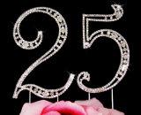 Cappello a cilindro della torta di cerimonia nuziale di numero del Rhinestone dell'annata per la decorazione della torta del partito