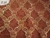 2017赤茶色の100%年のポリエステルシュニールのジャカードソファーファブリック