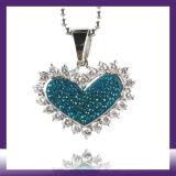 Ожерелье диаманта ожерелья кристаллический диаманта формы сердца нержавеющей стали способа привесное
