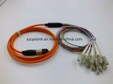 Крытый шнур заплаты оптического волокна PVC/LSZH MTP/MPO-LC Om3