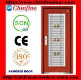 Porte blindée d'Acier-Bois avec la fenêtre d'acier inoxydable (CF-M044)