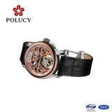 Automatic Mechanical Mens Classic Black Tourbillion Leather Sport Wrist Watch