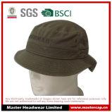 Brown 100% algodão unisex adultos balde chapéu com bordado