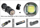 900 Lumens Brilho CREE T6 LED Mini Zoom Flash Light