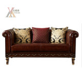 Sofá de sala de estar de estilo antigo de estilo antigo de couro de grão (E013)