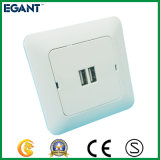 soquete de parede universal do USB do branco 100-240V