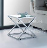 현대 유리제 커피용 탁자 스테인리스 기초 기기묘묘한 스테인리스 끝 측 테이블