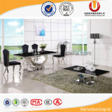 Tabella domestica della sala da pranzo del marmo del nero della mobilia con la base dell'acciaio inossidabile (UL-DC821)