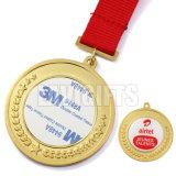 O costume 3D barato relativo à promoção o mais novo faz a concessão do esporte do chapeamento de ouro da antiguidade da liga do zinco o esmalte macio medalha redonda do metal