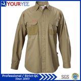 Luva longa camisas personalizadas do trabalho para os homens (YWS111)