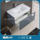 ミラーのキャビネットとの壁に取り付けられた現代ヨーロッパデザイン浴室の虚栄心