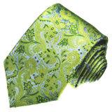 Les cravates en soie tissées de mode d'or de Paisely des hommes neufs de modèle