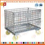 Recipientes de armazenamento Foldable da gaiola do engranzamento de fio de aço com rodas (Zhra3)