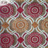 Panno circolare del sofà del jacquard del Chenille rosso e giallo (FTH32087)
