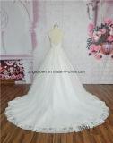 Vestido de casamento elegante Sleeveless da parte traseira da ilusão do vestido de esfera do laço