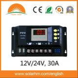 controlador da potência solar do diodo emissor de luz de 12/24V 30A