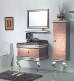 Argento su Floor Modern Mirrored Stainless Steel Bathroom Cabinet Golden (JN-88820)