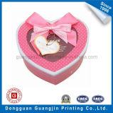 Contenitore di regalo rigido di carta variopinto del cartone di figura del cuore con il nastro