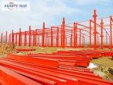 Taller de la estructura de acero con la instalación y después del servicio de la fábrica