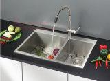 """Oberseite-Montierungs-Gleichgestellt-Doppelt-Filterglocke-handgemachte Küche-Wanne des Edelstahl-32 """" X19 """""""
