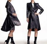Куртка цветастого длиннего типа неподдельная кожаный для женщин