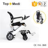 Topmedi Nuevo portátil de peso ligero plegable silla de ruedas de energía eléctrica