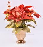 I generi di Hydrangea artificiale di natale con placcano i POT di ceramica per la decorazione di festa