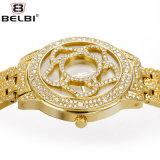 Belbi Blumen-Diamant-spezieller Vorwahlknopf-Entwurf für Frauen-Armbanduhr