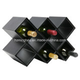 Vintage Leather 8-Bottle Storage Display Red Wine Holder Rack