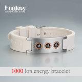 Bracelet en perles en hématite avec design avec silicone ionique négatif (20010)