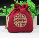 O malote relativo à promoção do Drawstring do armazenamento da jóia com costume borda o logotipo