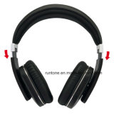 Cuffie ad alta fedeltà senza fili di Bluetooth con controllo di volume e del microfono - il nero