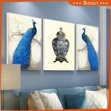 Art en gros artistique de peinture de peinture à l'huile de modèle de couples neufs de paon pour la décoration à la maison
