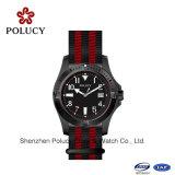 Do relógio de nylon do vestido dos homens do Wristband relógio Polished pequeno do aço inoxidável do ouro