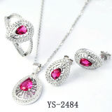 Серебр серебряных рубиновых ювелирных изделий ювелирных изделий 925 способа установленный покрыл